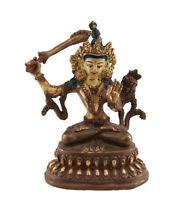 Soprammobile Tibetano Manjushri 10.5 CM IN Rame E Doratura Nepal AFR9-3597