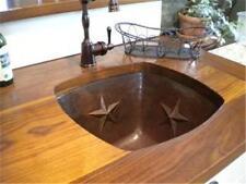 "15"" Square Hand Hammered Undermount Copper Bar Prep Sink with Stars Design"