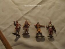 """Vintage Lot of 4 Knights Medieval Vikings Soldiers Weapons Shields Plastic 3"""" h"""