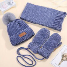 Baby Winter Hat Scarf Gloves Set Girls Boys Fleece Beanie Ski Snow Warm Caps