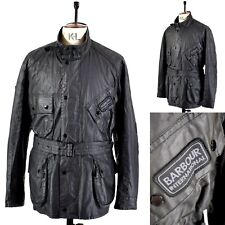 Men's BARBOUR INTERNATIONAL Black WAXED COTTON Fishing Sports Jacket UK XL