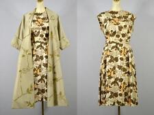 Vintage 50's Joan Leslie silk floral sheath dress full coat 2 pc set M opera