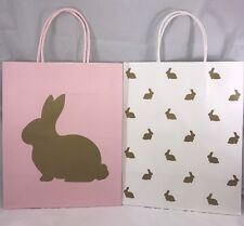 Easter gift bags ebay celebrate it easter pink and white gold bunnies medium gift paper bags new negle Images