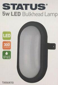 Outdoor Bulkhead Black 5W LED Security Exterior Garden Wall Light 300 Lumen IP65