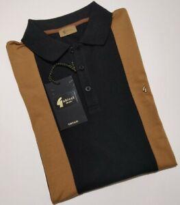 Gabicci Vintage Mens BLACK Retro Polo Shirt