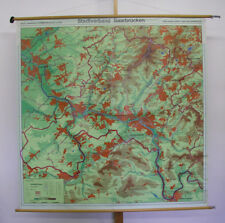 Vieux murs Carte Ville Association Sarrebruck Vintage Wall Map 162x162cm ~ 1960