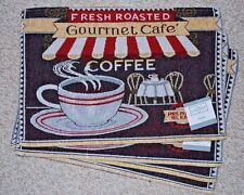 """SET OF 4 TAPESTRY PLACEMATS /COFFEE/CAFE THEME/""""GOURMET CAFE/CREAM/BLACK/RED/NWT"""