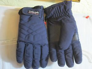 Thinsulate 3M Ladies Navy Blue Winter Ski Sport Glove Grip Loop Fasten Large