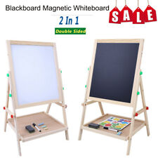 Wooden Kids Easel Art Children Whiteboard Blackboard Stand Chalk Drawing Board