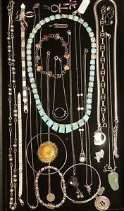 Vtg-Now Sterling Silver 925 Jewelry Lot - Wearable and Scrap - 253 Grams Total