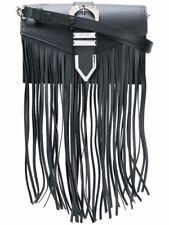 Versace VERSUS fringed shoulder bag Black leather calf rock n roll