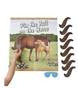 Pin The Tail On The Horse Party Game Kids Birthday Wall Carboard