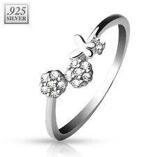 Coolbodyart 925 Sterling Silber Finger-Zehenring Blumen mit Zirkonia