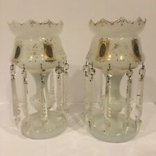 """Pair Of White Opaline Lustres 13.5"""""""