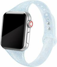 Women's Apple Watch Band Soft Silicone Strap Glistening Blue Glitter 38mm 40mm