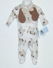 Messages from the Heart Infant Boys One (1) Piece Footed Romper & Bib Tan 0-3M