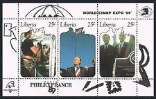 Liberia 1131 ac sheet,MNH.Michel Bl.123. PHILEXFRANCE-1989.Statue of Liberty.