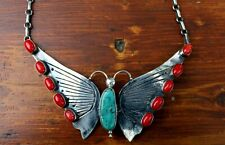 Giant Old Navajo Sterling Silver & Turquoise & Red Coral BUTTERFLY Necklace