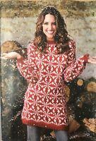 KNITTING PATTERN Ladies Christmas Jumper Dress Fair Isle Snowflake Design Rowan