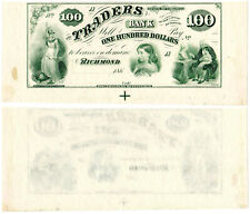 US Virginia Richmond $100 VA195G10 (1860s) Traders Bank **Uncut** UNC