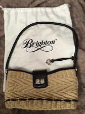 Gently Used BRIGHTON Small STRAW & LEATHER Shoulder Satchel Tote Handbag Purse