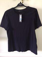 Navy Lace Trim T Shirt 12