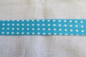 Cotton Bias binding-   white dots on Turquoise , 25mm, price per metre