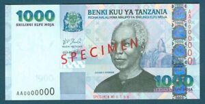 Bank of Tanzania 1000 Shillings shilingi 2003 Pick 36s Specimen