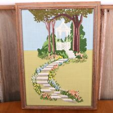Gazebo Stone Path Needlepoint Framed Wall Hanging Picture Embroidery Vintage