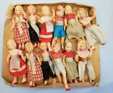 """Vintage 3.5"""" celluloid dollhouse doll lot of 12 w/ part of original box 1930s"""