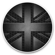 2 x Vinyl Stickers 20cm (bw) - Grunge Black British Union Jack Flag  #43004