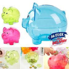 Cartoon Pig Money Coins Box Bank Transparent Piggy Children Gift Storage Box