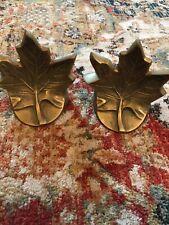 Vintage Decorative Crafts Heavy Brass Maple Leaf Bookends Korea
