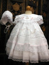 Gorgeous Will'Beth Heirloom Lace Pearls Embroidered Dress & Bonnet NB Reborn