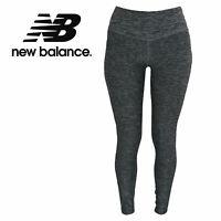 New Balance Women's Dark Heather Gray Crop Yoga Leggings with Reflective Logo