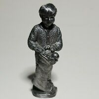 Vintage Michael Ricker Pewter Christmas Figurine Boy in Pajamas w/Stocking 17072