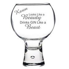Personalised Engraved Gin Tonic glass looks like a beauty drinks like a beast