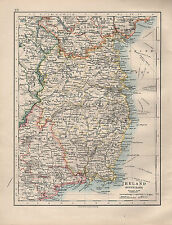 1914 MAP ~ IRELAND SOUTH-EAST ~ WEXFORD WICKLOW MEATH DUBLIN BAY KINGS COUNTY