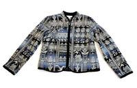 Dress Barn Women's Tapestry Jacket Abstract Print Full-Zip Blue & Gray Size S