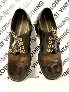 VTG Men's Shoes sz 11 1970s 2 tone Brown Funky Oxford Striped Laces Square Toe