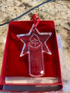 Baccarat Annual Christmas Ornament 2012, NIB, Clear Crystal, Candle