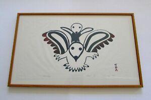Inuit Silk Screen Sonset Print SNOWBIRDS by Laumchea 1968