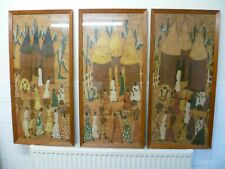 More details for a vintage set of three large framed african painted fabric tribal village scenes