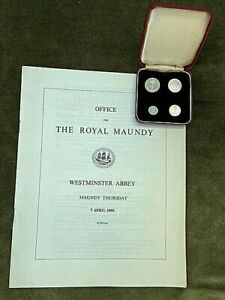 1966 Elizabeth II Royal Maundy Coin Set Westminster Abbey with Order of Service
