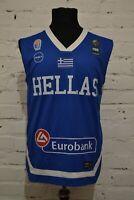 HELLAS GREECE NATIONAL TEAM BASKETBALL JERSEY SHIRT BLUE MENS S