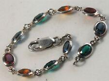"Milor Italian 7"" Sterling Silver Rainbow Glass Ovals Link Bracelet"