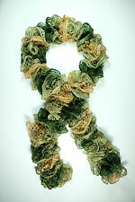 Metallic Green Adorable Ruffle Hand Knit Crochet Scarf with Sequins