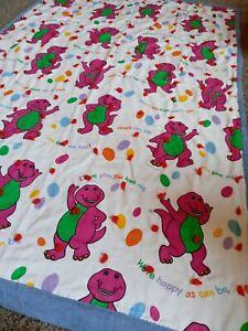 Vintage Barney Quilt Blanket Handmade Vintage 90's 1992  Purple Dinosaur 70x44