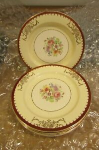 VINTAGE (FLORAL) TIFFANY BY STETSON CHINA CO. 22KT GOLD 7 bread plates