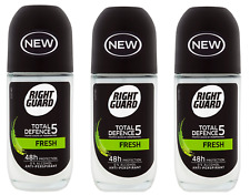 3X Right Guard Men Total Defence 5 FRESH Deodorant Roll on 50ml 48h Protection